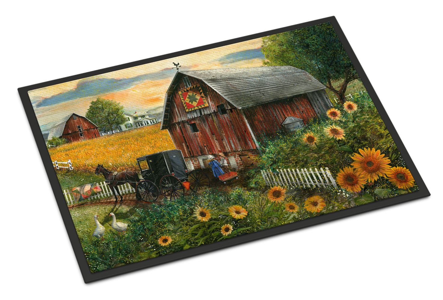 Sunflower Country Paradise Barn Indoor Or Outdoor Mat 18x27